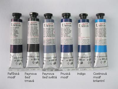 Mistrovské olejové barvy Umton - tmavě modré a šedé odstíny