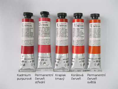 Mistrovské olejové barvy Umton - červené odstíny
