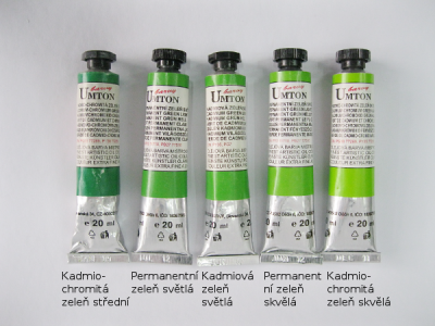 Mistrovské olejové barvy Umton - zelené odstíny