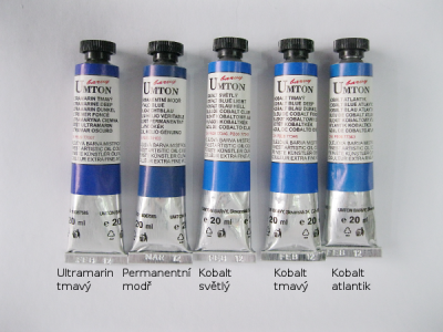 Mistrovské olejové barvy Umton - středně modré odstíny