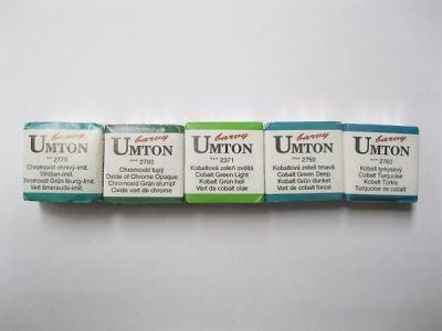 Akvarelové barvy Umton - zelenomodré odstíny