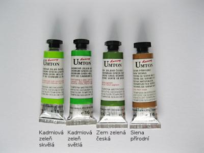 Mistrovské temperové barvy Umton - zelené odstíny a siena