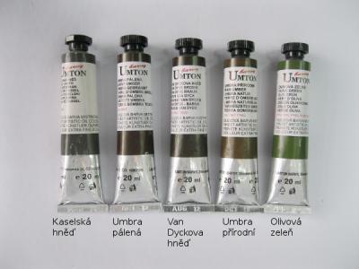 Mistrovské olejové barvy Umton - tmavě hnědé a hnědozelené odstíny