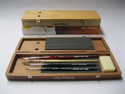 Sada štětců pro akvarel Da Vinci v dřevěném boxu