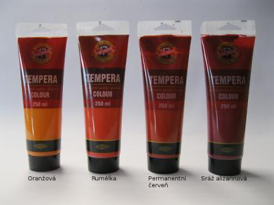 Tempera Koh-i-noor 250ml - červené odstíny