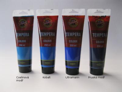 Tempera Koh-i-noor 250ml - modré odstíny