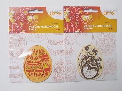 Papírové výřezy - vejce květy a filigrán