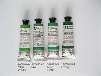 Mistrovské temperové barvy Umton - zelené odstíny