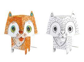 3D omalovánky CUBE HEADS - Kočka