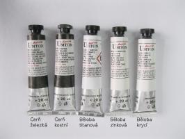 Mistrovské olejové barvy Umton - bílá a černá